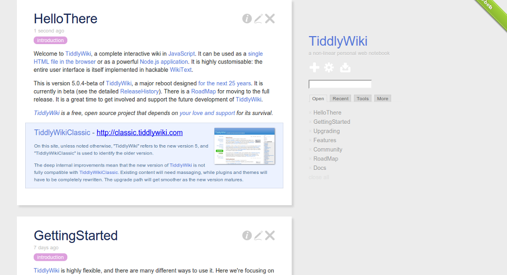 Screenshot TiddlyWiki5