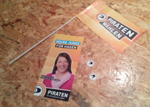 Wahlkampfmaterial der Piraten Hagen